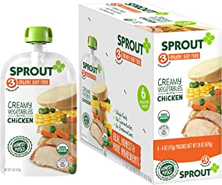 Sprout Organic Baby Food Pouches Stage 3, Creamy Vegetables w/ Chicken, 4 Ounce Pouches (Pack of 6)