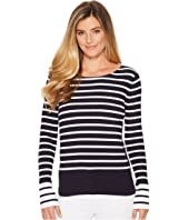 Rib Stripe Sweater with Bell Sleeve and Slit Detail