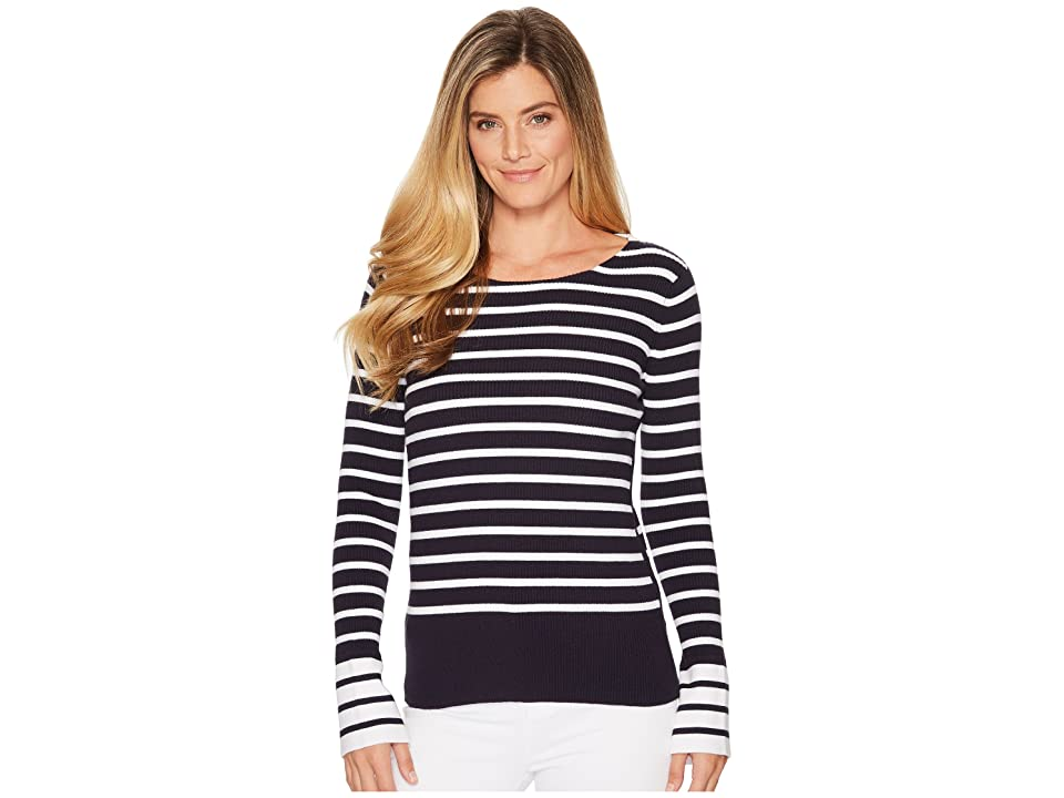 Elliott Lauren Rib Stripe Sweater with Bell Sleeve and Slit Detail (Navy/White) Women