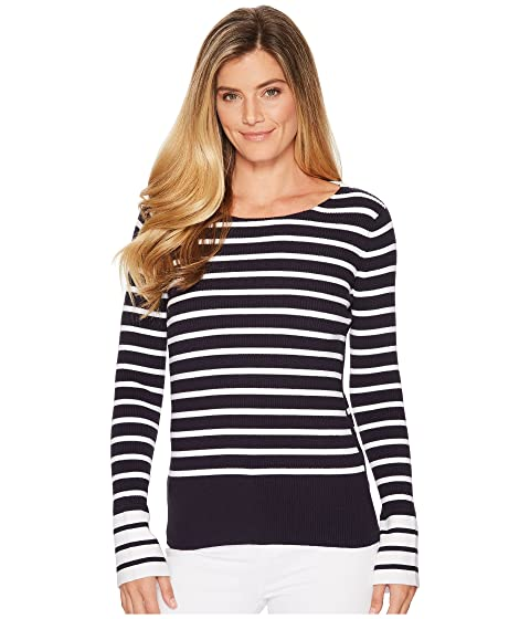 958f7757a2 Elliott Lauren Rib Stripe Sweater with Bell Sleeve and Slit Detail ...