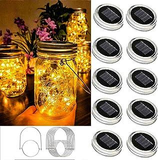 EiGreen Mason Lights Solar Mason Jar Solar Lantern Lights, 10 Pack 30led Solar Mason lid Lights Cover,10 Hangers Included(...