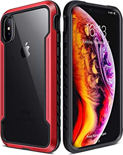 Kindor iPhone X & iPhone Xs case,Durable Defender Series - Military Grade Drop Tested,Hard Strong Tough Rugged Cover,Space Aluminum, TPU, and Polycarbonate Protective Case for iPhone X/XS (Red)