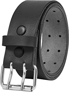 Men's Belt Double Prong Genuine Leather Work Belts for Men Heavy Duty Belt with Holes Double Grommet Brown Black Belt