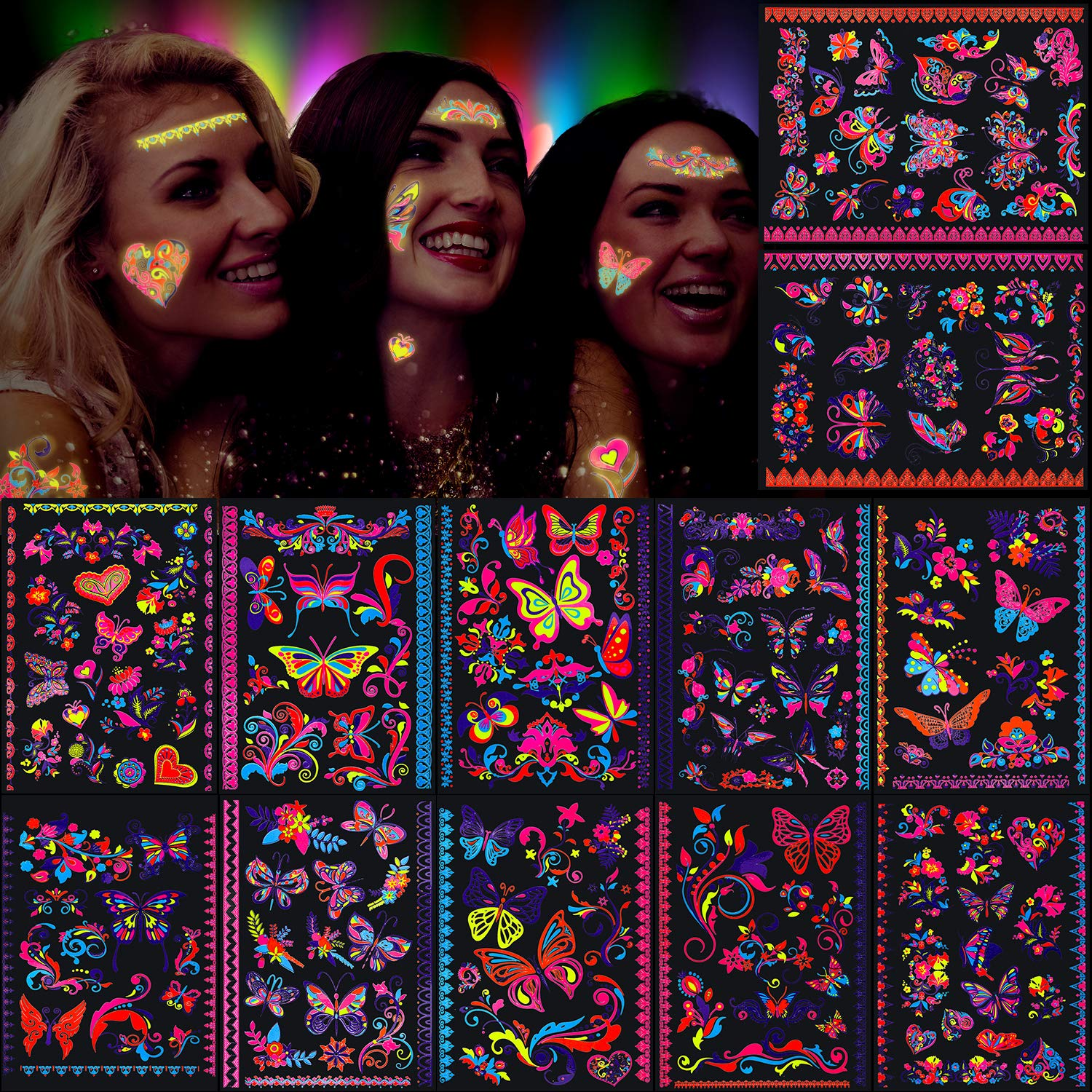 Konsait Max 45% OFF 160pcs Butterfly Tattoos UV neon G Temporary Year-end gift for