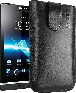 mumbi Echt Ledertasche kompatibel mit Sony Xperia S Hülle Leder Tasche Case Wallet, schwarz