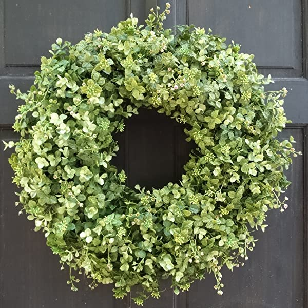 Year Round Artificial Greenery Boxwood And Eucalyptus Spring Winter Fall Wreath For Front Door Decor Small Extra Large Sizes Indoor Outdoor Use