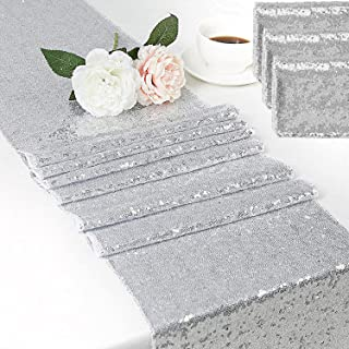 Sequin Table Runner 90 Inches Long Glitter Silver Table Runner Decorate Engagement Wedding Party Baby Shower Birthday Banq...