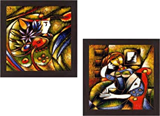 Wens 'Modern Roman Art' UV Textured Wall Painting (Synthetic Wood, 35 cm x 71 cm x 2.5 cm, Brown, Set of 2)