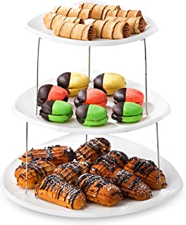 Collapsible Party Tray, 3 Tier - The Decorative Plastic Appetizer Trays Twist Down and Fold Inside for Minimal Storage Spa...