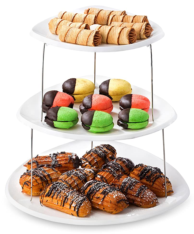 Twist Fold Party Tray, 3 Tier - The Decorative Plastic Appetizer Trays Twist Down and Fold Inside for Minimal Storage Space. An Elegant Tray for Serving Sandwiches, Cake, Sliced Cheese and Deli Meat.