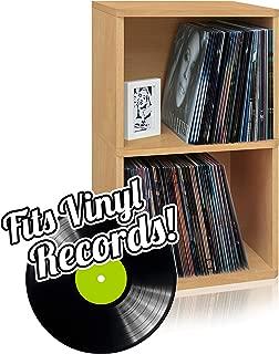 Way Basics 2-Shelf Vinyl Record Storage Cube and LP Record Album Storage Shelf, Natural