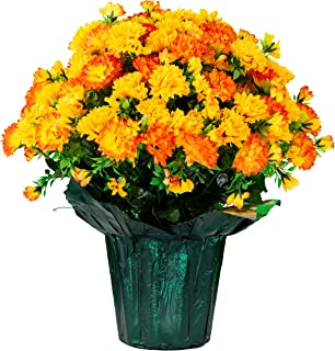 Sympathy Silks Memorial Artificial Flowers Weighted Pot Bouquet Decoration - Height 18