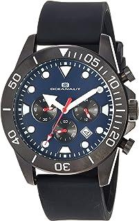 Oceanaut Men's Naval Stainless Steel Quartz Silicone Strap, Black, 23 Casual Watch (Model: OC1311)