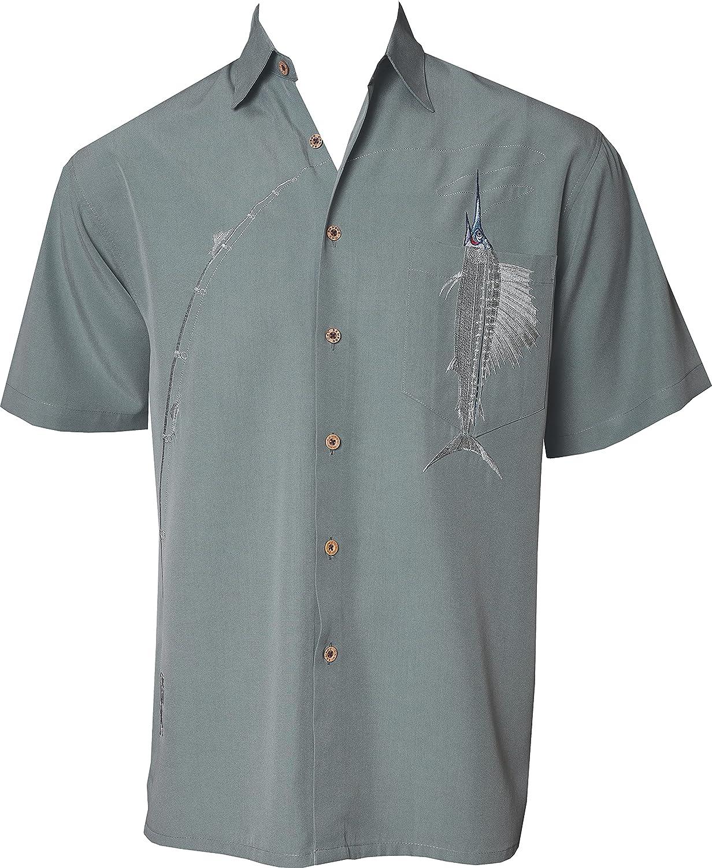 Bamboo Cay Shake The Hook Hawaiian Men's Tropical Embroidered Casual Woven Shirt