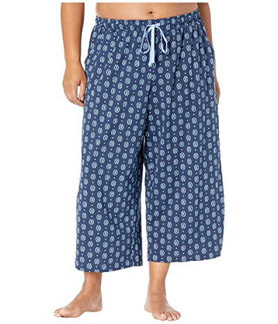 Karen Neuburger Plus Size Sunday In Sorrento Capris Pants (Geo/Deep Navy) Women