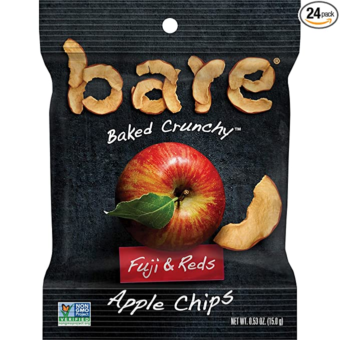 Bare Baked Crunchy Apple Chips, Fuji & Reds, Gluten Free, 0.53 Ounce Bag, 24 Count