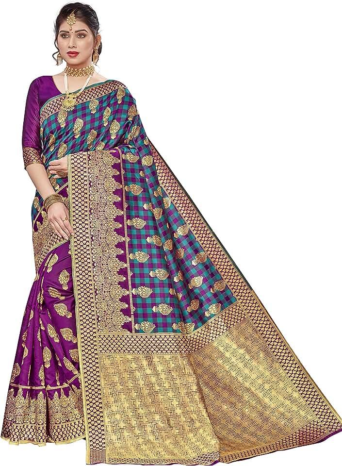 Indian VeBNoR Women's Banarasi silk saree (Multicolor) Saree