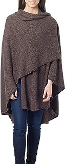 NOVICA Handmade Dark Brown Alpaca Wool Blend Wrap 'Brown Tweed'