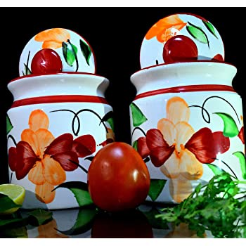 SHIVOW Big Ceramic Pickle Jars with lid Set of 2, 800 Grams Each, Floral Painting Chatni Jars for Kitchen Storage, Ceramic Jars for Dining Table