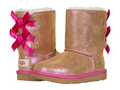 UGG Kids Bailey Bow II Shimmer (Little Kid/Big Kid) (Chestnut/Fuchsia) Girl