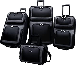 New Yorker Lightweight Expandable Rolling Luggage 4-Piece Suitcase Set, Black