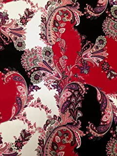 Floral Jacobean Pattern on Stretch Lightweight Knit Jersey Polyester Spandex Fabric By the Yard