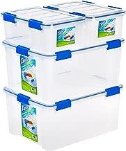 Ziploc WeatherShield 16 and 60 Quart Storage Box, 4 Pack, Clear