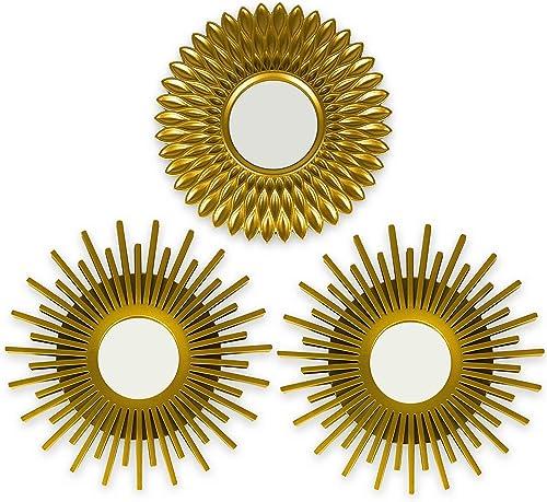 BONNYCO Espejos Pared Decorativos Dorados Pack 3 Espejos Decorativos Ideales para Decoracion Casa, Habitación y Salón...