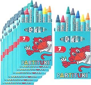Gadget Compleanno Bambini Partituki. 40 Sets di 7 Pastelli a Cera Colorati. Regalini Pignatta Compleanno Bambini. Con Cert...