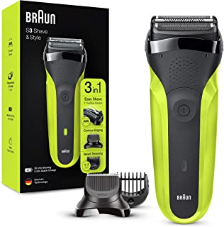 Braun Shaver 300BT Green Series Rotation Electric Shaver Trimmer, Black