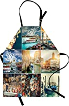 Ambesonne Italian Apron, Designed Masks for Carnival of Venice Baroque Style Gondolas River Italy Landmark, Unisex Kitchen Bib with Adjustable Neck for Cooking Gardening, Adult Size, Dark Teal