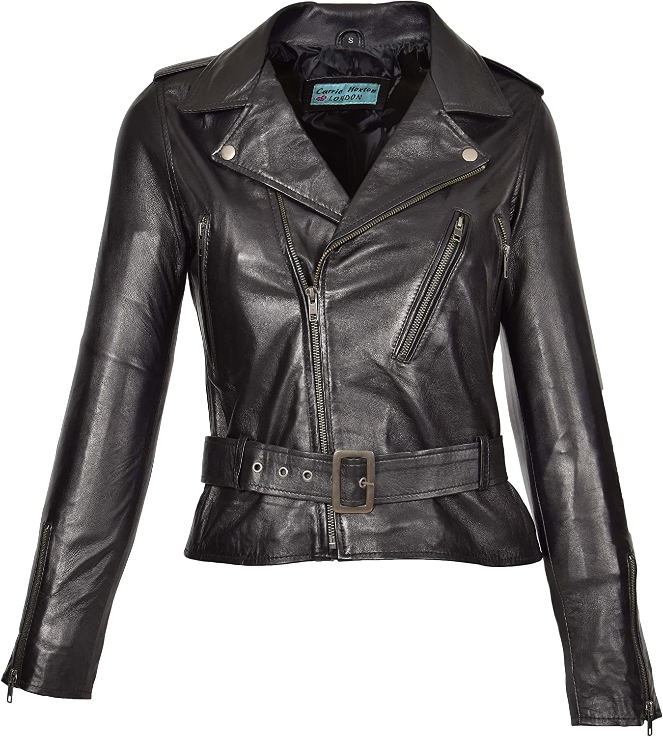 A1 FASHION GOODS Ladies Soft Leather Fitted Biker Jacket Womens Funky Wanda Black