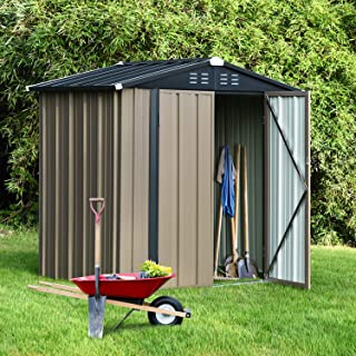 6' x 4' Storage Sheds Outdoor, Utility Shed & Outdoor Storage for Garden Lawn, 6x4 FT Backyard Bike Shed with Lockable Doo...