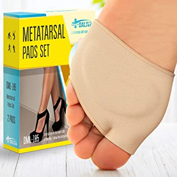 Ball of Foot Cushions (2 Pieces) - Metatarsal Pads | Forefoot Pads of Soft Fabric - Foot Sleeve Mortons Neuroma - Prevent Pain and Discomfort (Beige)