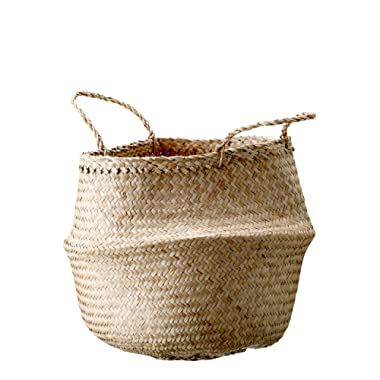 Bloomingville A928004 Medium Beige Collapsible Seagrass Handles Basket, 13.75 Inch, Natural
