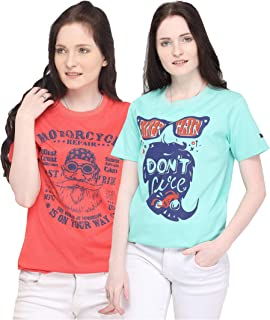 Zorchee Round Neck Half Sleeve Pure Cotton Printed T-Shirts for Women (Sky Blue, Red_Pack of 2)