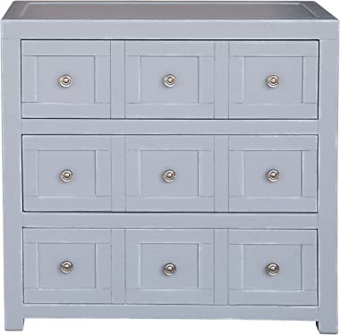 Pulaski Apothecary Style Three Drawer Accent Storage Brushed Nickel Hardware Chest, Grey