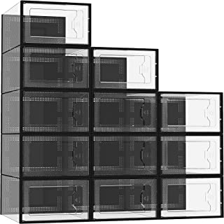 12 Pack Shoe Storage Box, Clear Plastic Stackable Shoe Organizer for Closet, Space Saving...