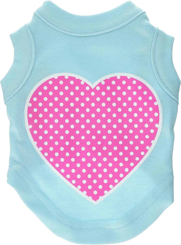 Dog   Cat   Pet Charms Pink Swiss Dot Heart Screen Print Shirt Aqua XS (8)