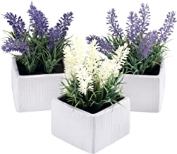 MyGift Set of 3 Assorted Color Artificial Lavender Flower Plants in White Textured Ceramic Pots