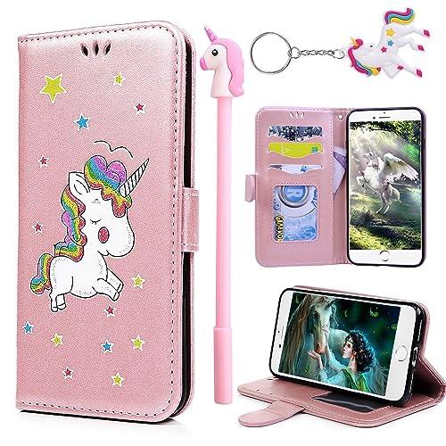 E-Mandala Apple iPhone 5 5S SE Case Unicorn PU Leather Flip Case Wallet Cover with card holder kickstand Shell Soft TPU Silicone Bumper - Rose Gold