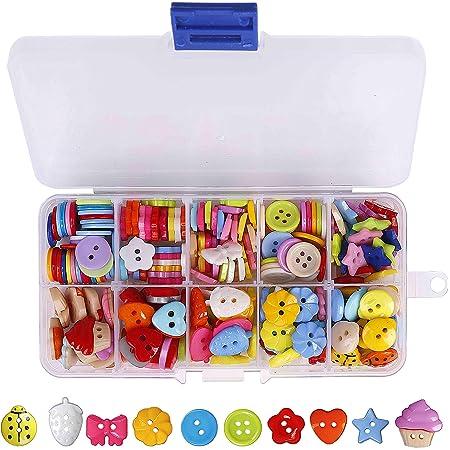 QH-Shop Bottoni Caramella Colori Cucito Bottoni in Resina con Scatola di Plastica per Il Mestiere di Cucito Scrapbooking e Fai Da Te a Mano Ornamento 235 Pezzi