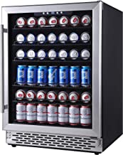 Phiestina 24 Inch Beverage Cooler Refrigerator - 175 Can Built-in or Free Standing Beverage Fridge with Glass Door for Sod...
