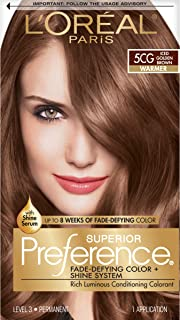 L'Oreal Paris Superior Preference Fade-Defying + Shine Permanent Hair Color, 5CG Iced Golden Brown, 1 kit Hair Dye 1 Count