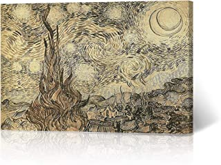 HB Art Design Cypresses in Starry Night, a Reed Pen Drawing 1889 Vincent Van Gogh Canvas Print Wall Art Living Room Office Bedroom Decor Classic Modern Art Ready to Hang Made in The USA 24x36
