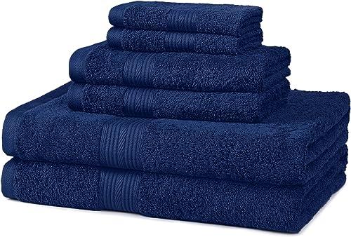 Amazon Basics Juego de 6 Toallas de algodón, Resistentes a la decoloración