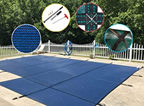 WaterWarden Made to Last Safety Pool Cover for 20' x 40' Blue Mesh with Right Step