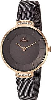 Obaku Women's Analog-Quartz Watch with Stainless-Steel Strap, Brown, 10 (Model: V177LEVNMN)