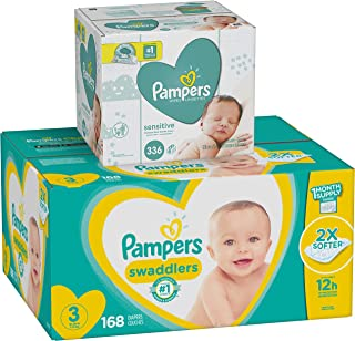 Diapers Size 3, 168 Count and Baby Wipes - Pampers Swaddlers Disposable Baby Diapers and Water Baby Wipes Sensitive Pop-Top Packs, 336 Count
