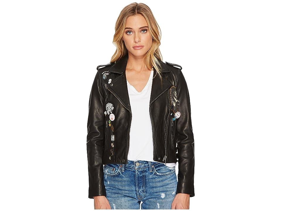 Lucky Brand Pin Moto Jacket (Black) Women's Coat
